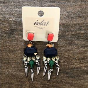 Navy Multicolor Drop Earrings